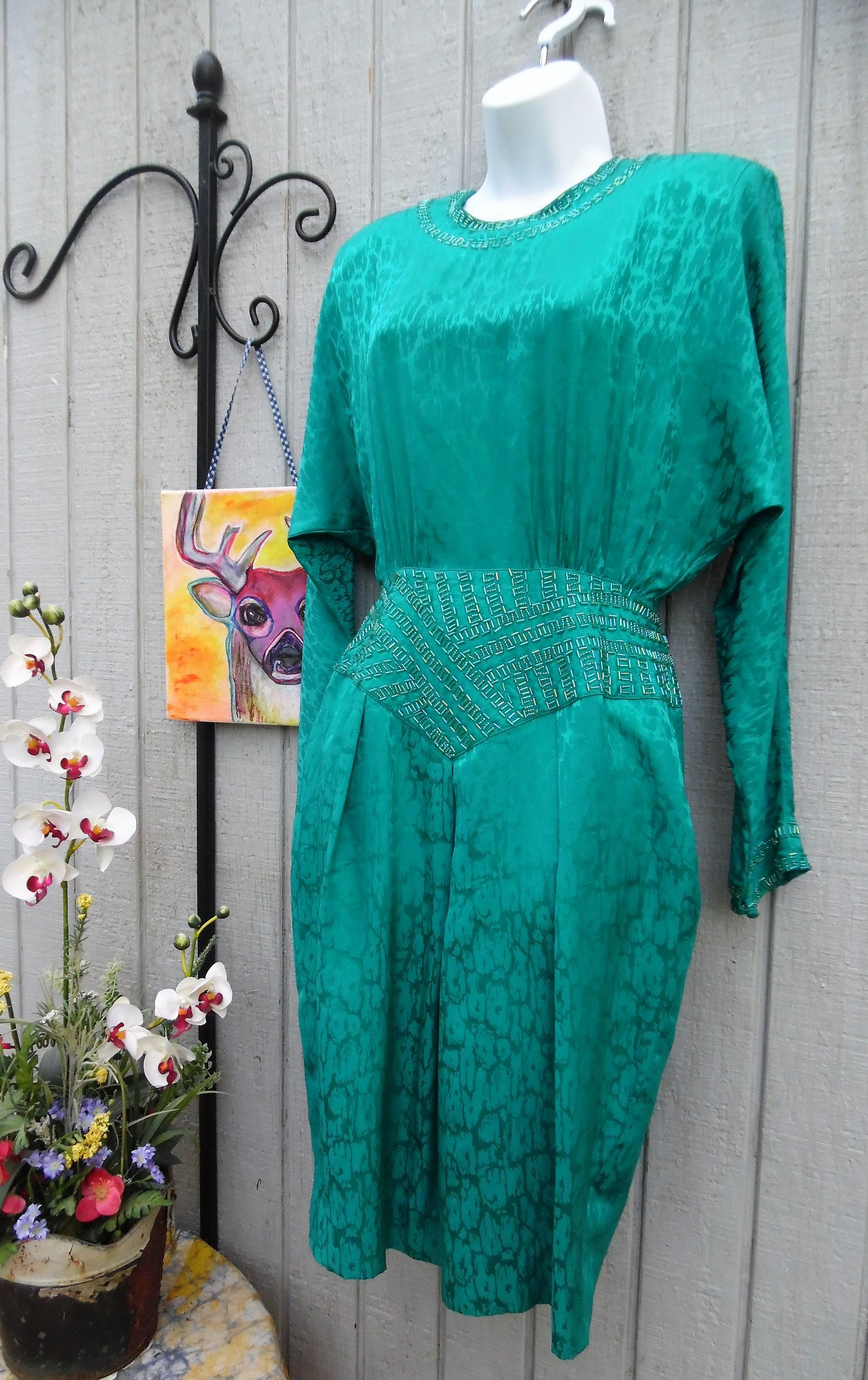 Vintage 80\'s Green Silk Beaded Dress - Glam New Wave Animal Print ...