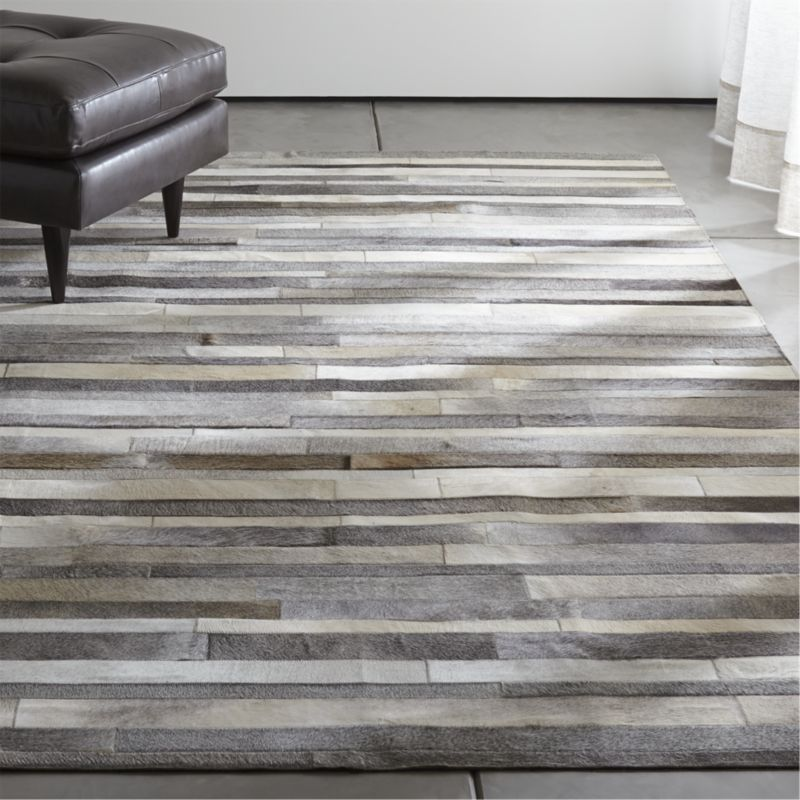 Fonda Grey Striped Cowhide 10 X14 Rug Crate And Barrel With Images Cow Hide Rug Rugs Patchwork Cowhide Rug