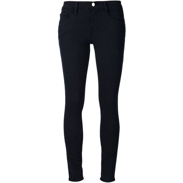 Frame Denim Skinny Jeans ($147) ❤ liked on Polyvore featuring jeans, pants, bottoms, calças, black, black jeans, skinny fit jeans, frame denim jeans, skinny leg jeans and black denim skinny jeans