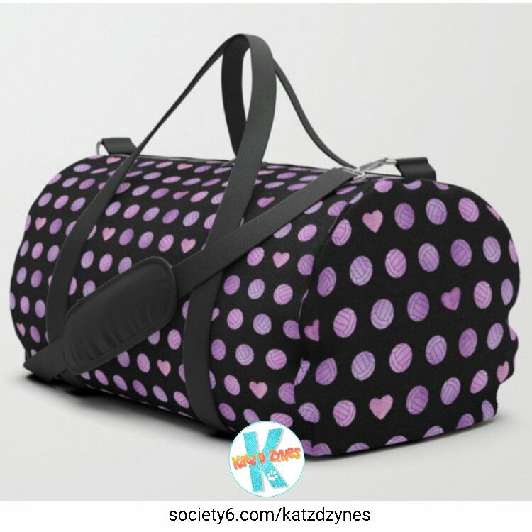 a909b300db Pink   purple  volleyball and  hearts pattern  bag  girls  volley  sports   giftideas  duffle