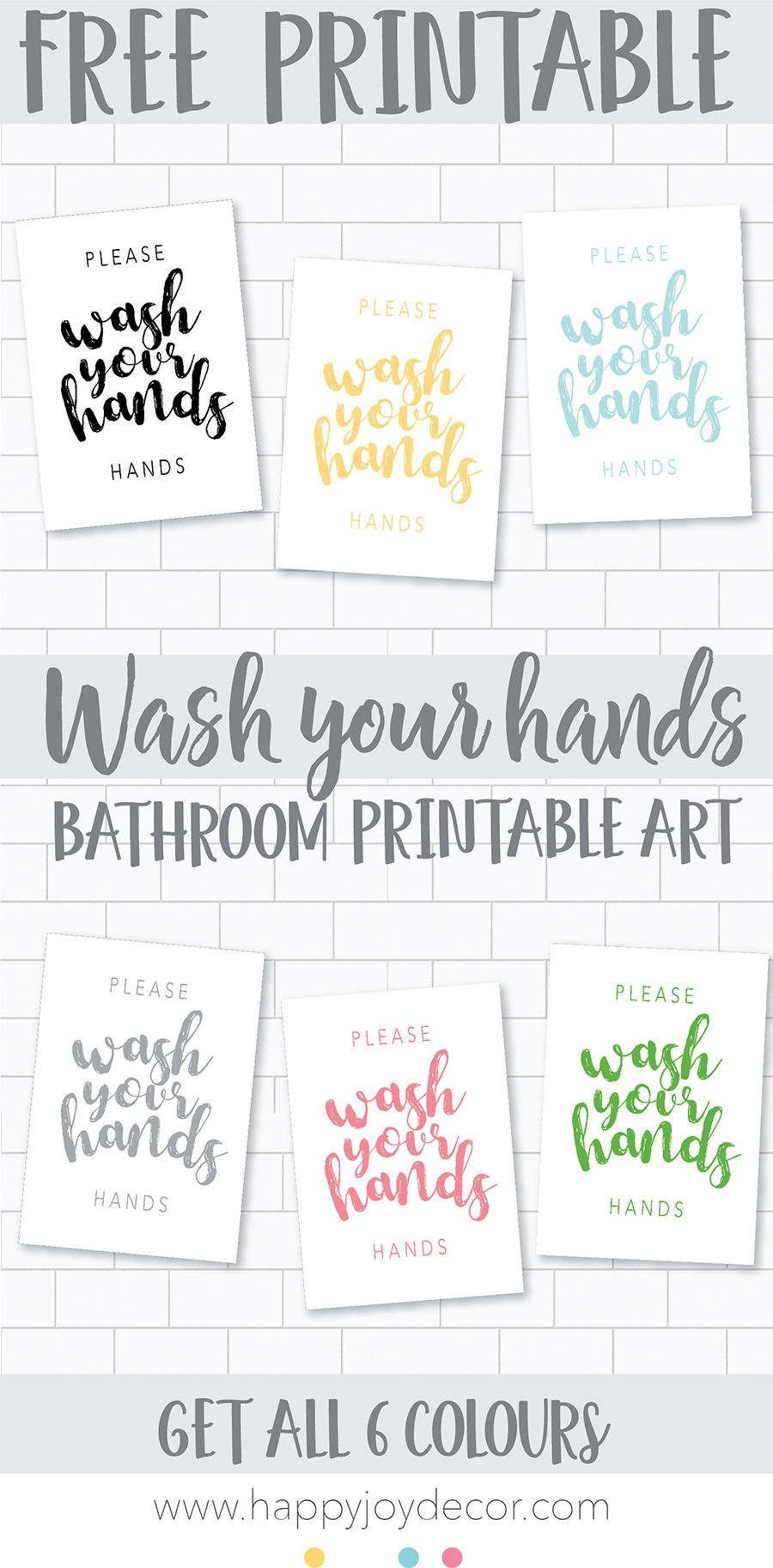 This Wash Your Hands Free Bathroom Printable Wall Art Is Such A