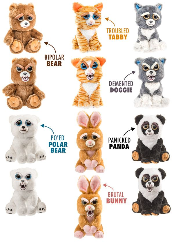 Feisty Pets Stuffed Animals That Change From Awwww To Ahhhhh Cute Animals With Funny Captions Cute Animal Drawings Kawaii Cute Animals Puppies