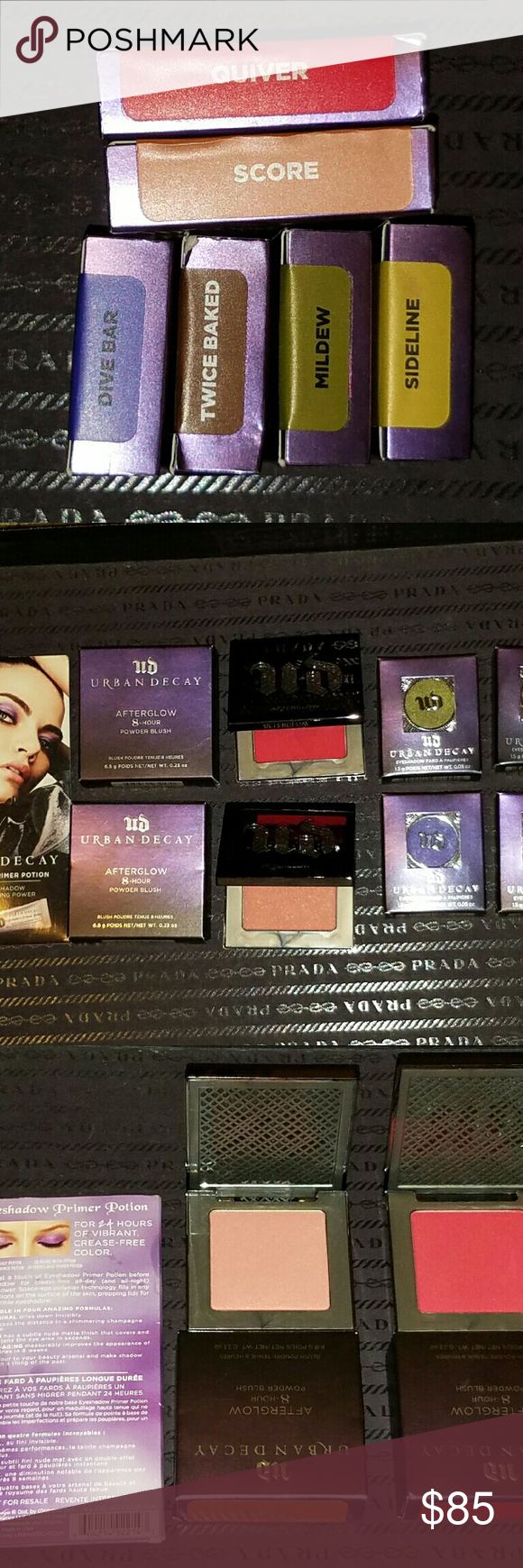 New Urban Decay Afterglow/eyeshadow bundle! Includes:  Urban Decay Afterglow in (Quiver & Score) Eyeshadows in ( Sideline, Dive Bar, Twice Baked and Mildew) Not selling individually.   All are brand new and Authentic  Price is firm. no Trades. Urban Decay Makeup Eyeshadow