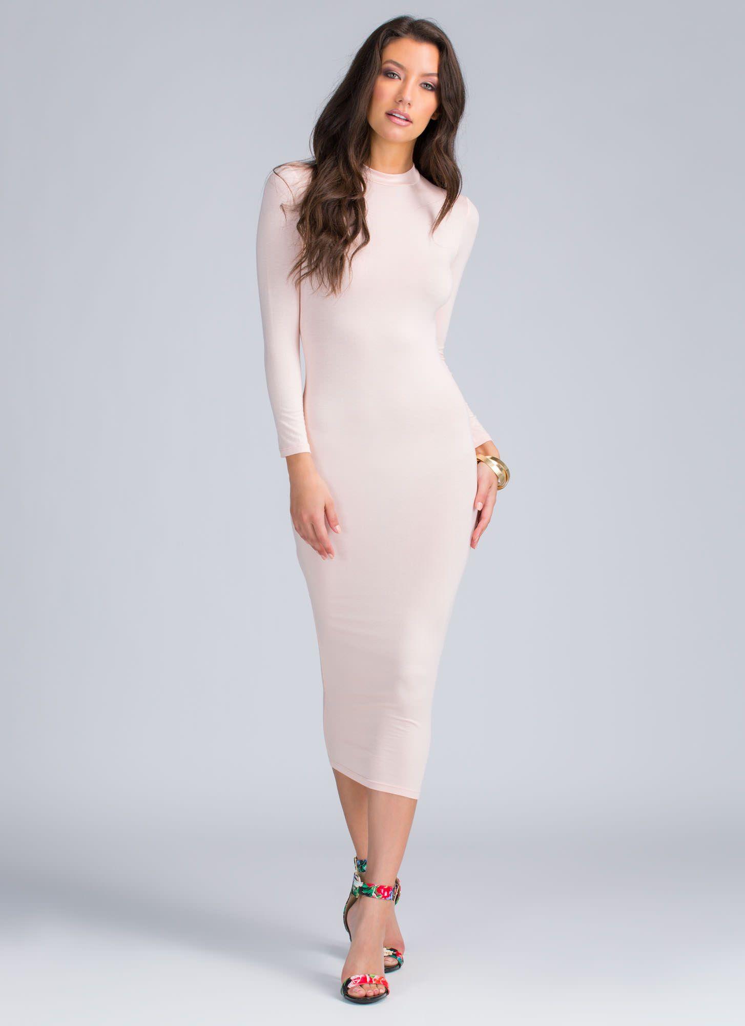 $16 Better In Basic Midi Bodycon Dress BLUSH WHITE MOCHA BLACK OLIVE ...