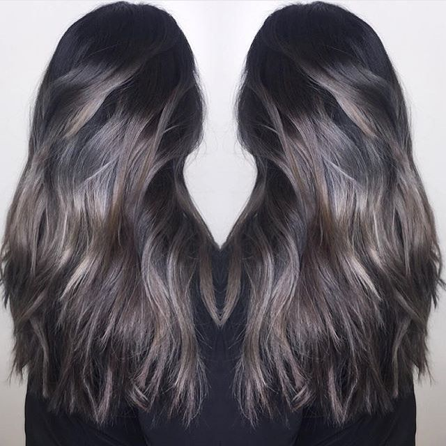 Love This A Meld Of Cool Toned Silver And Brunette Color By Jimmyhilton Hair Hair Styles Balayage Brunette Hair