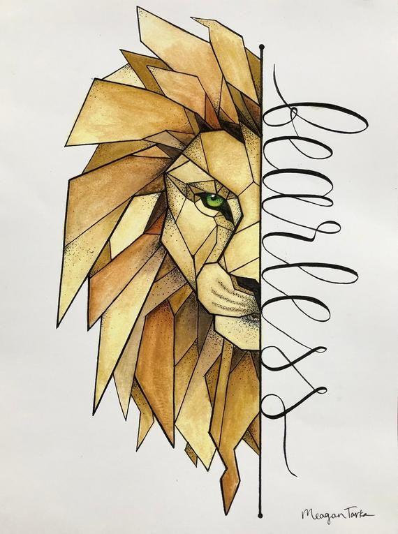 Dieser 8.5x11in-Druck zeigt die Hälfte eines Löwenkopfes gebildet von mehreren geometrischen Formen und Größen. Auf der rechten Seite ist das Wort fearless in Schreibschrift geschrieben. Die ursprüngliche Zeichnung wurde in Feder und Tusche, Aquarell über Top getan. Dieser Druck kann leicht gerahmt