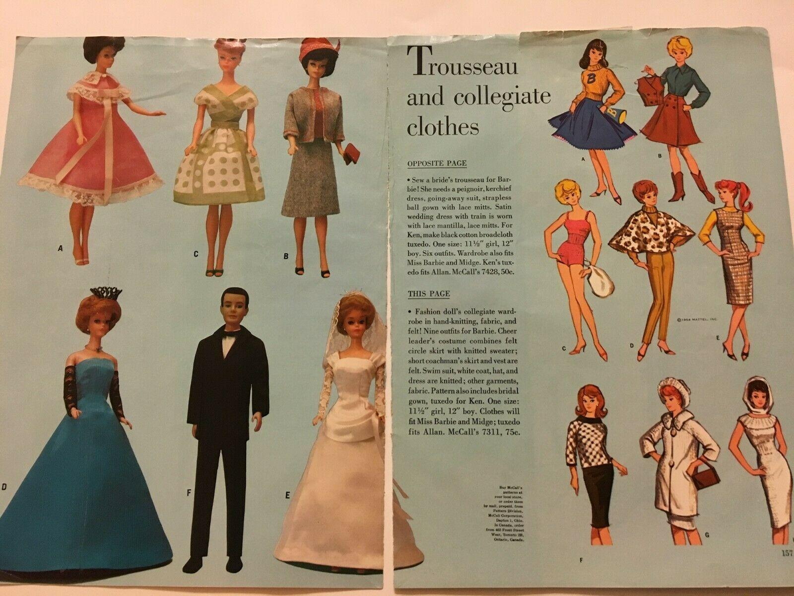 Swim Vtg 1960s Barbie /& Ken Doll Clothes Pattern ~ Dress Bikini Suit Beach