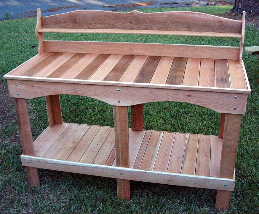 One of our fancier largest designed potting benches for Garden potting bench ideas