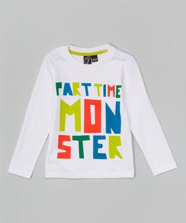 Look at this #zulilyfind! White 'Part Time Monster' Tee - Toddler & Kids #zulilyfinds