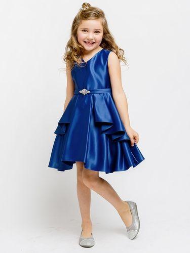 1b34f8639 Royal Blue Satin Sleeveless V-Neck Dress w  Ruffles