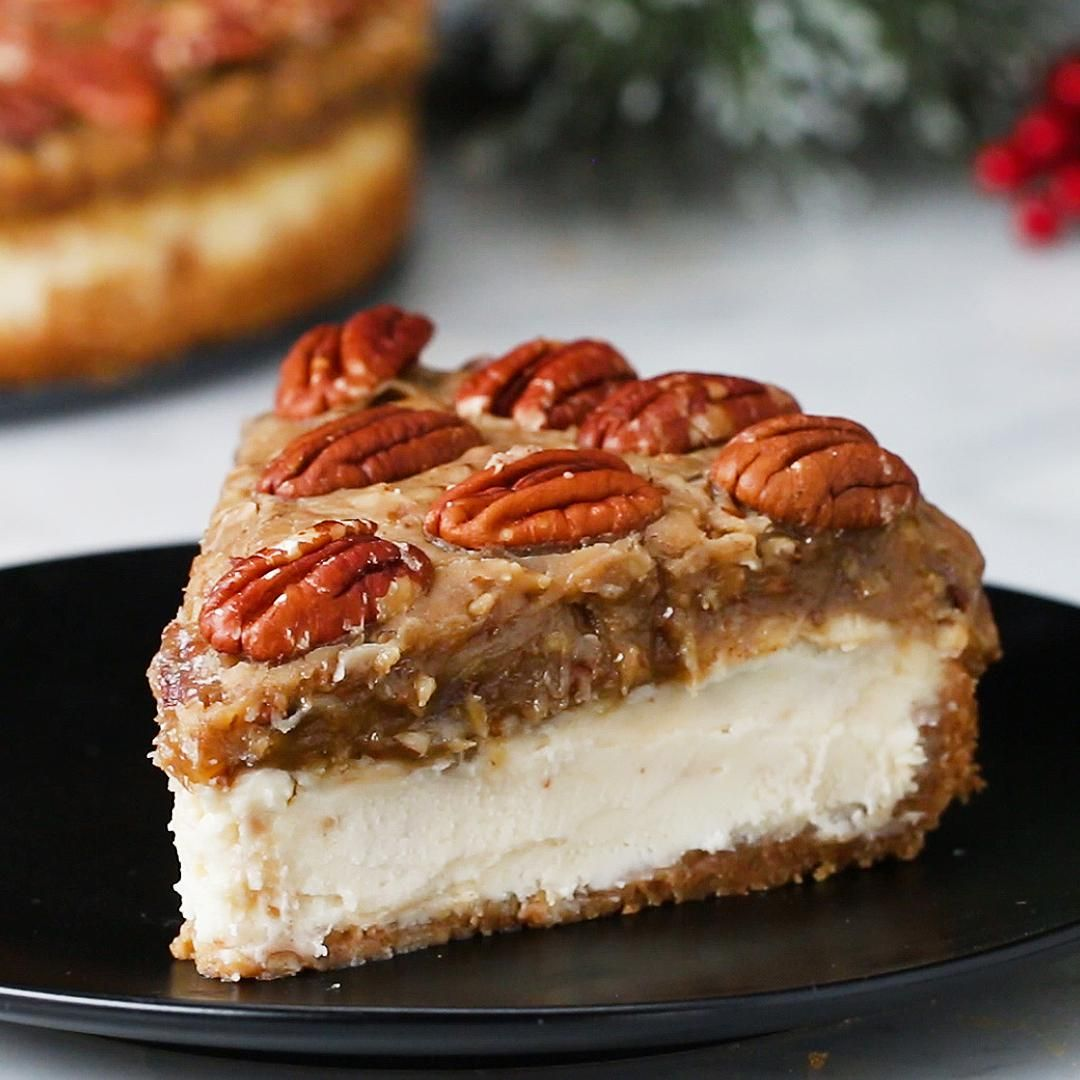 Here S What You Need Graham Cracker Crumbs Butter Cream Cheese Sugar Milk Sour Cream Flour Bourbon Whiske Desserts Dessert Recipes Pecan Pie Cheesecake