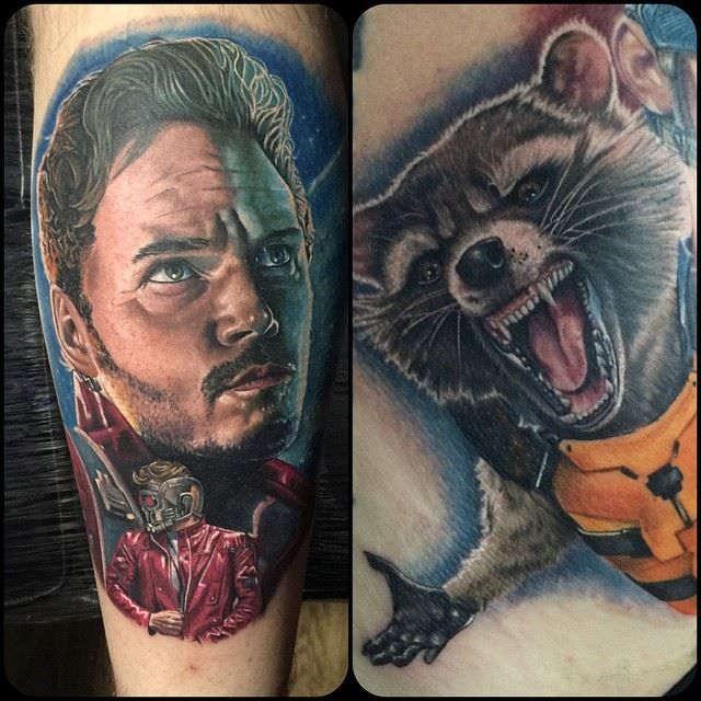 Guardians Of The Galaxy Tattoos By Chris Jones @ Area 51