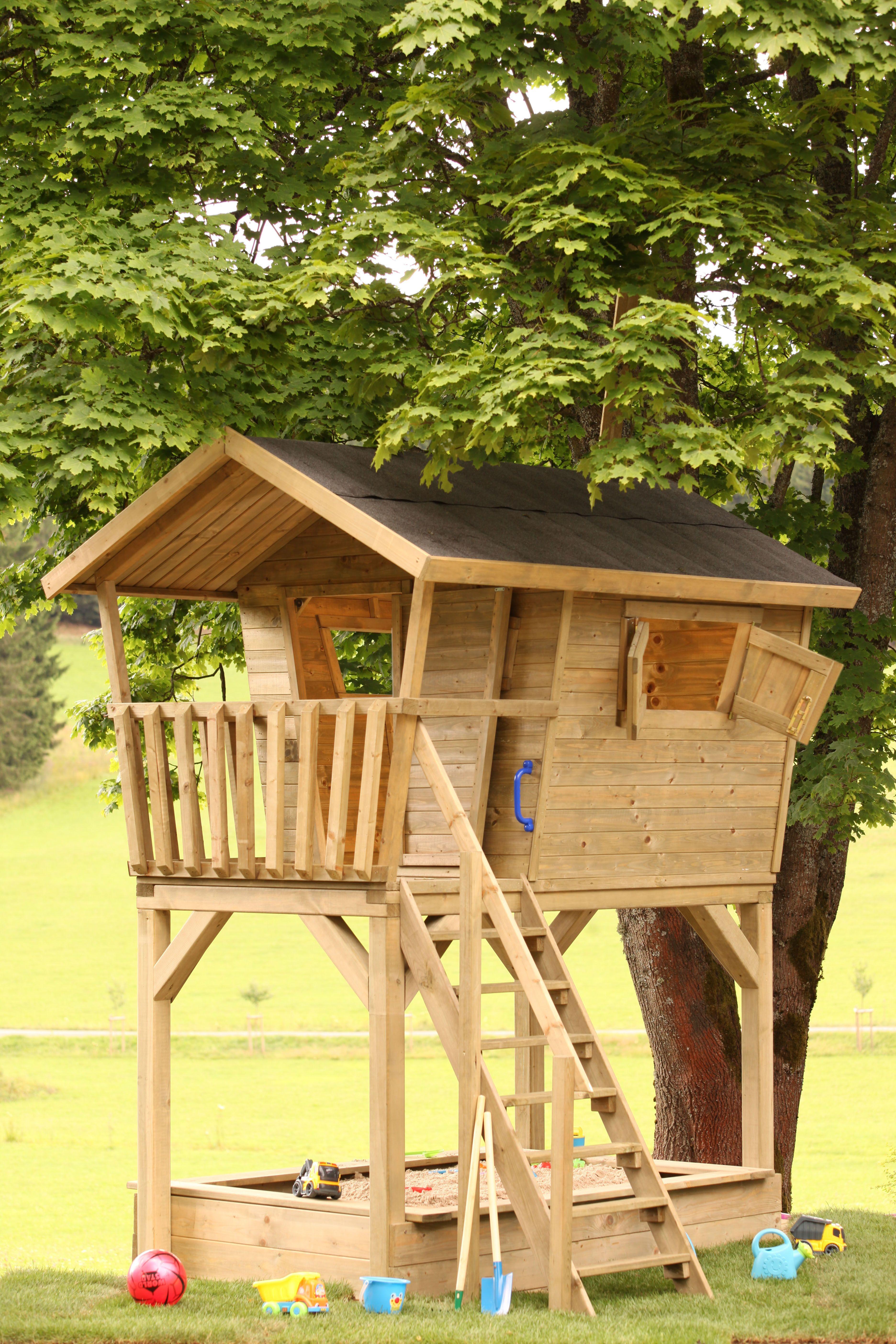 Spielhaus Barney Ein Baumhaus Mit Sandkasten Sorgt Fur Reichlich Spass Im Garten Kinder Spielhaus Garten Spielhaus Garten Kinder Baumhaus