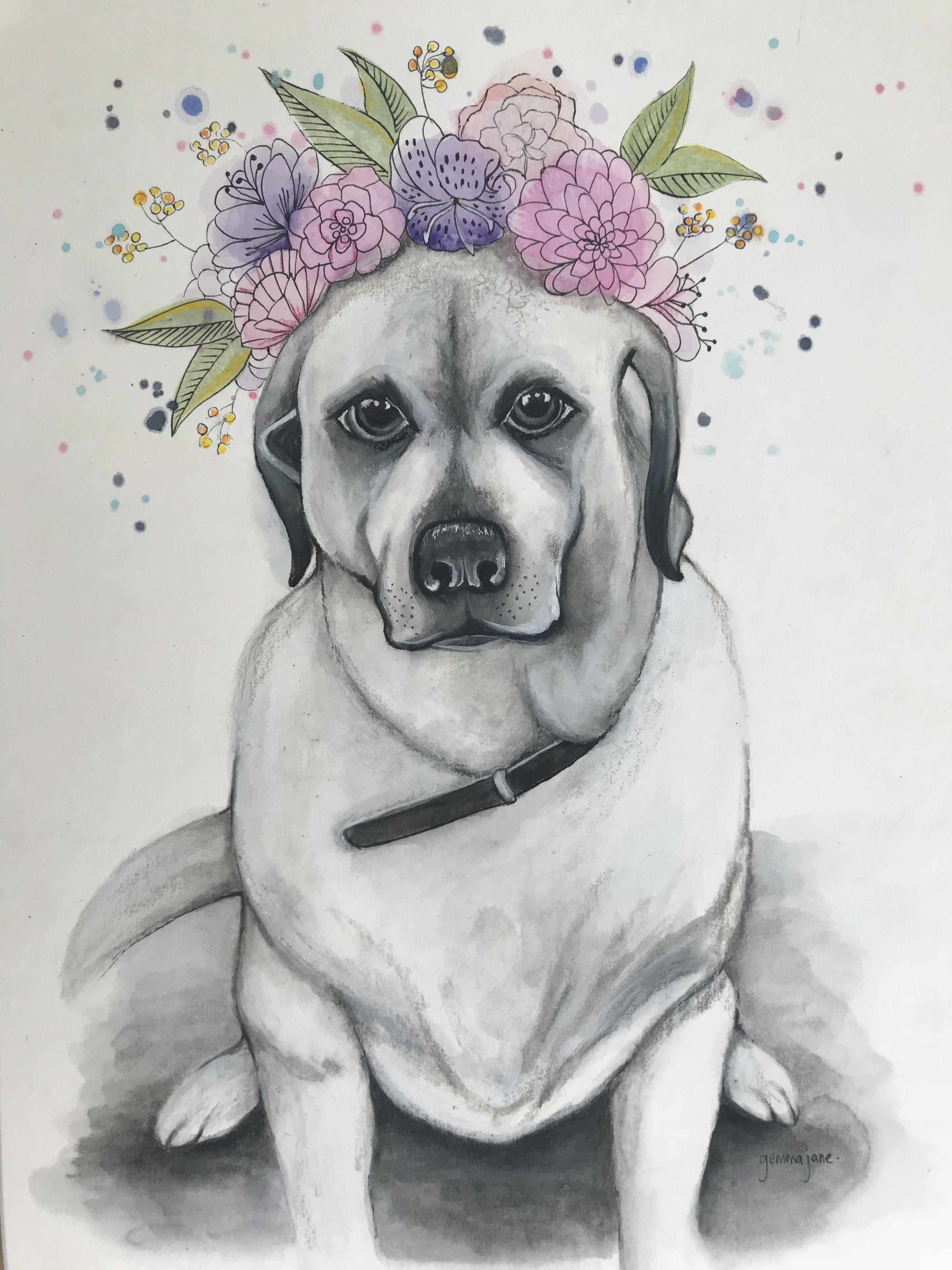 Lab With Flower Crown Art My Art Pinterest Crown Art