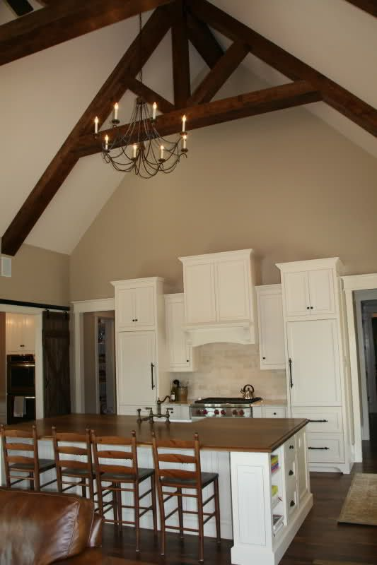 Finished Kitchen Creamy With Walnut Cabinets Painted Benjamin