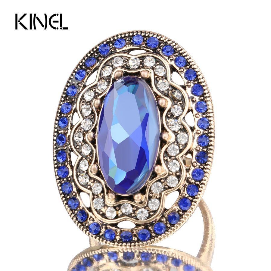 2017 새로운 매력 블루 큰 반지 도금 고대 골드 빈티지 여성 모자이크 화이트 크리스탈 패션 쥬얼리