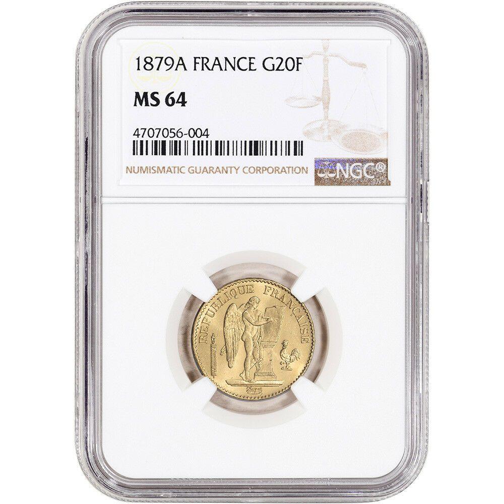 1879 A France Gold 20 Francs Ngc Ms64
