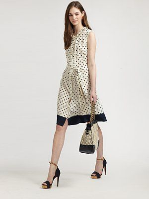 Tory Burch Graham Silk Dress Clic Polka Dots Complete A Perfect Woven Design Featuring Ruffles Subtle Gathered Details And Waist Accentuating