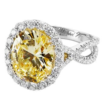Yellow and white diamond ring by Michael M