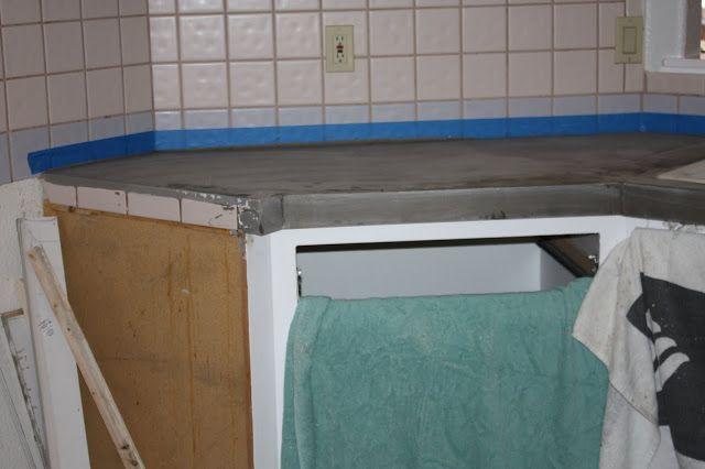 Concrete Countertop Over Tile Remodelaholic 200 Kitchen