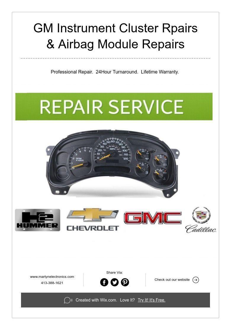 Gm Instrument Cluster Rpairs Airbag Module Repairs Instruments Gm Trucks Chevrolet