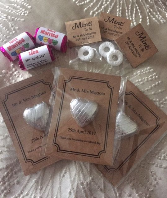 Mixed Wedding Favour Sets Personalised Chocolate Sweets Polos