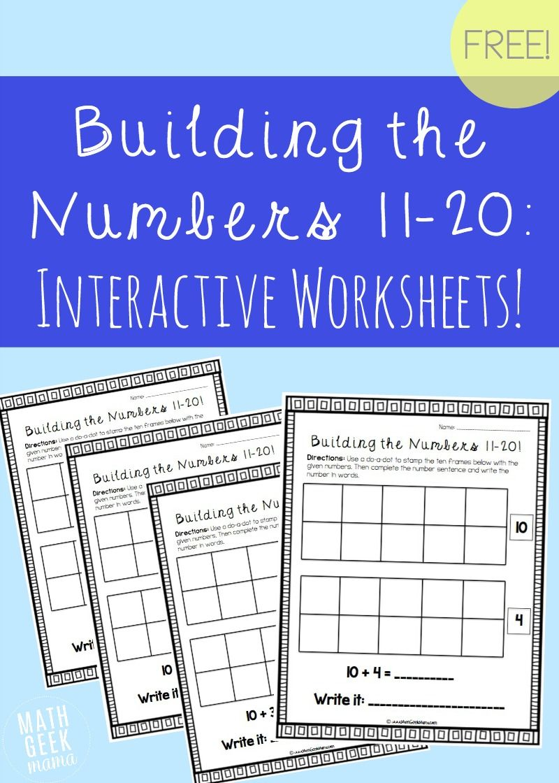 Building the Numbers 11-20 {Free Printables!} | Easy math, Number ...
