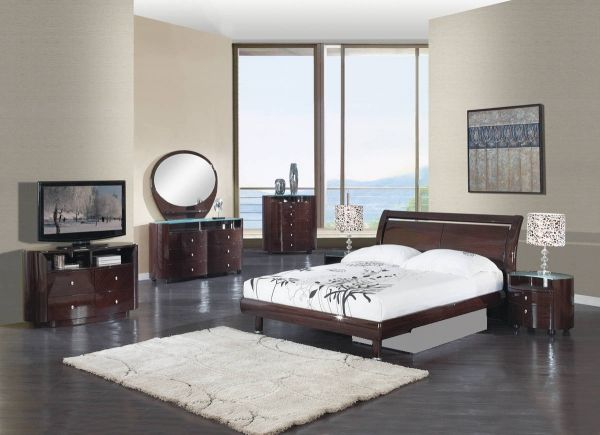 . Emily Wenge MDF Wood Veneer 5pc Bedroom Set w King Bed   Global