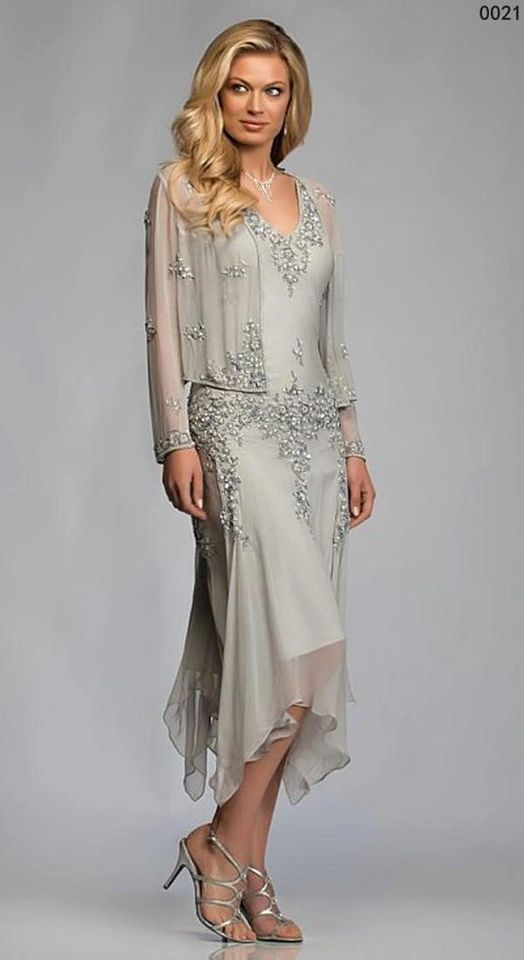 Tea Length Chiffon Beaded Mother Of The Bride Dresses With Jacket Lace Appliques Sequins Mothers