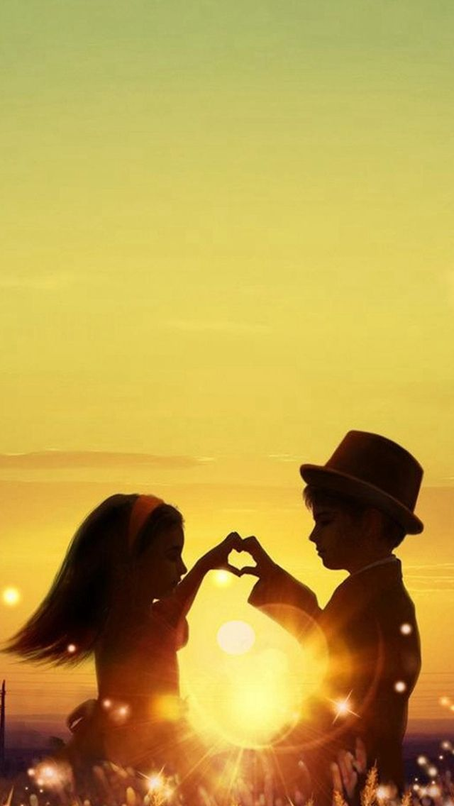 Sunset Love Cute Kids Couple Sunlight Flowers Field iPhone