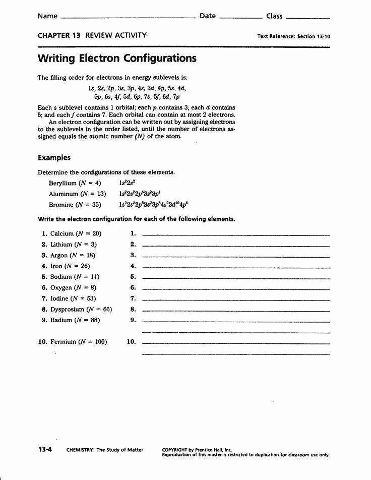 Electron Configuration Worksheet Answer Key Unique