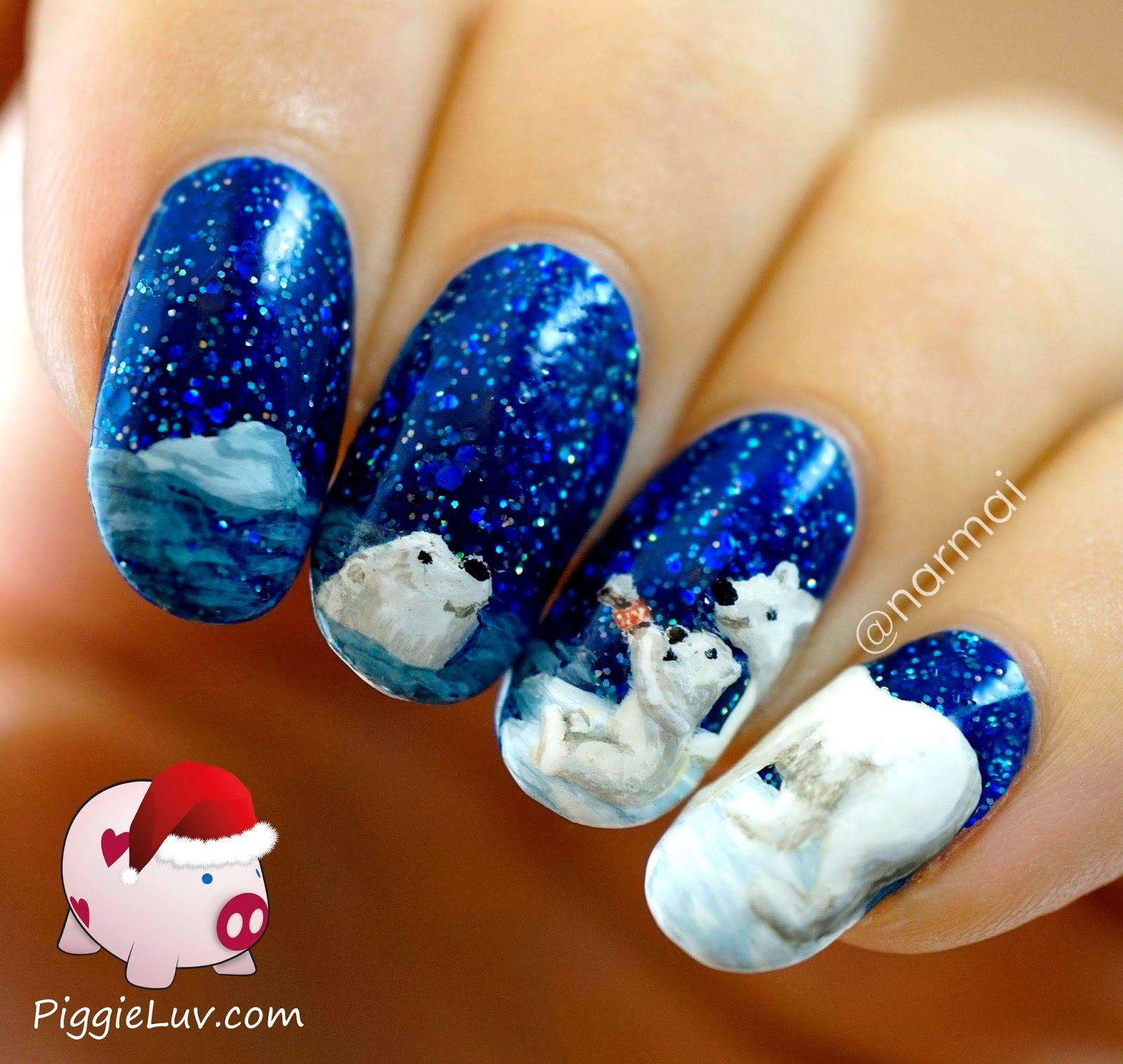 Polar Bear Nail Art