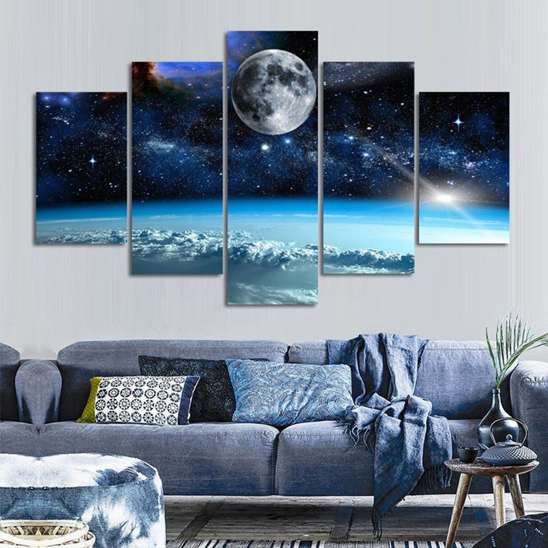Canvas Art Print Moon Picture Modern Canvas Painting Wall Art Poster 5pcs