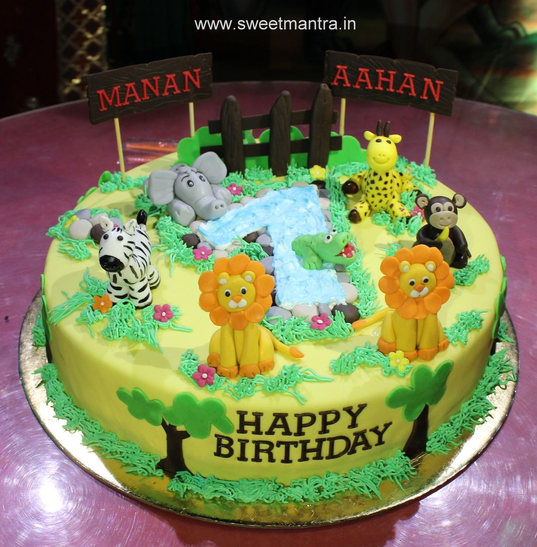 Homemade Eggless 3dcustom Animal Theme 1st Birthday Cake For Twin