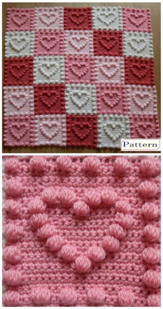 Crochet Bobble Heart Pattern Granny Square Video Tutorial | knitting ...
