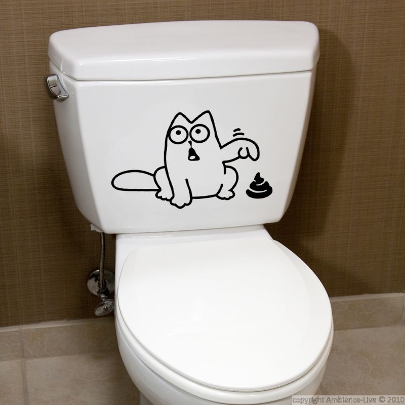 This Funny Cat Bathroom Wall Decals Can Give You Ideas For Decorating Your Toilet