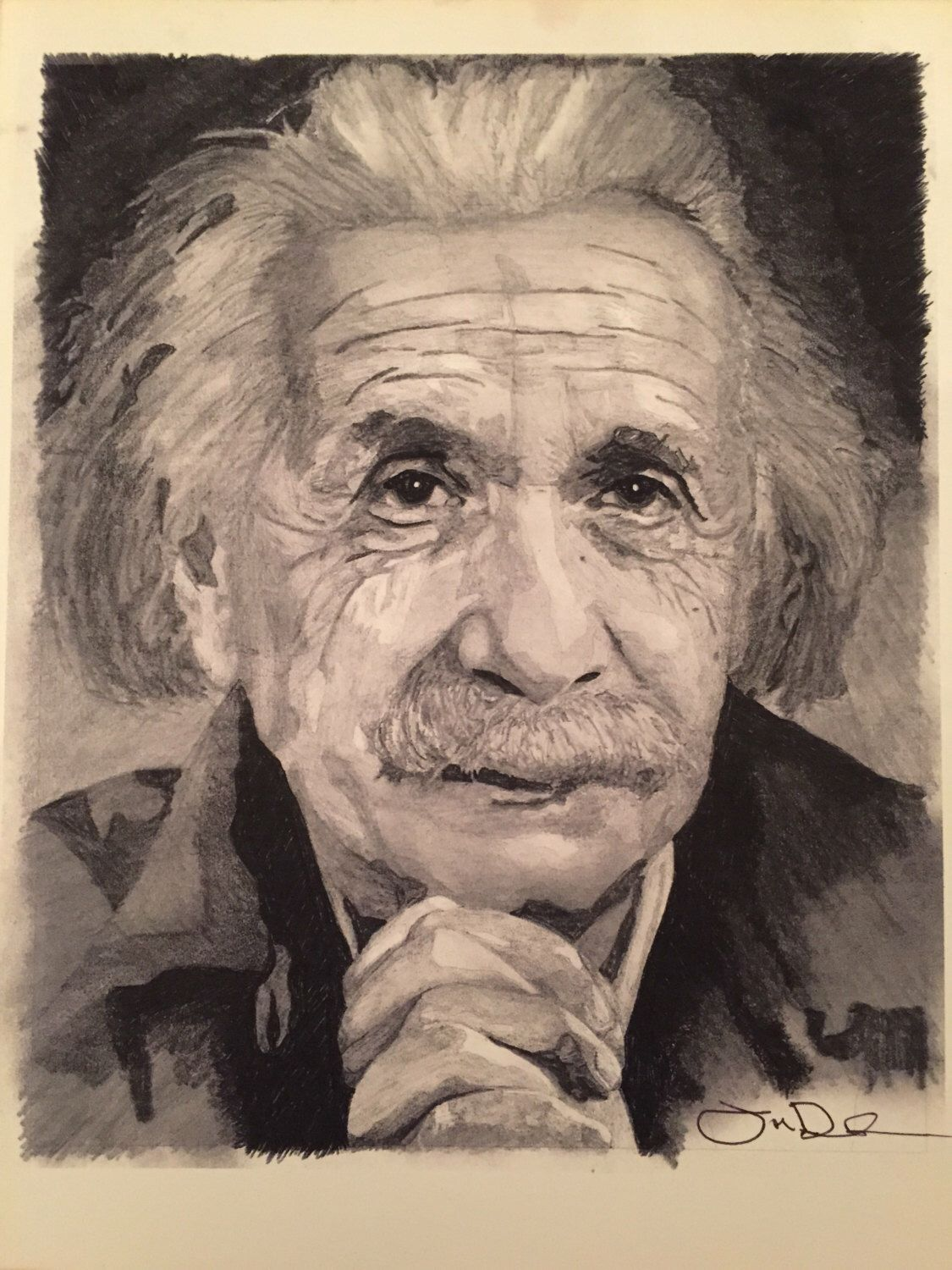 Albert Einstein Hand Drawn Portrait