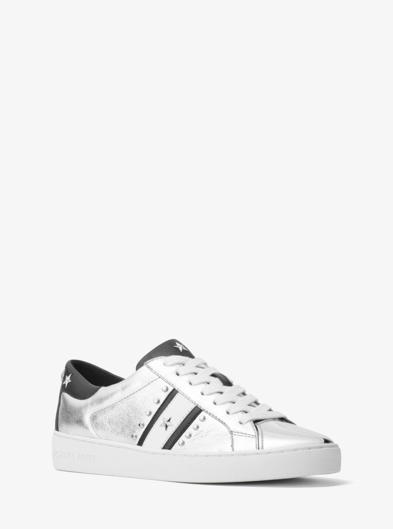 2a6683cf533b MICHAEL KORS Frankie Studded Metallic Leather Sneaker.  michaelkors  shoes