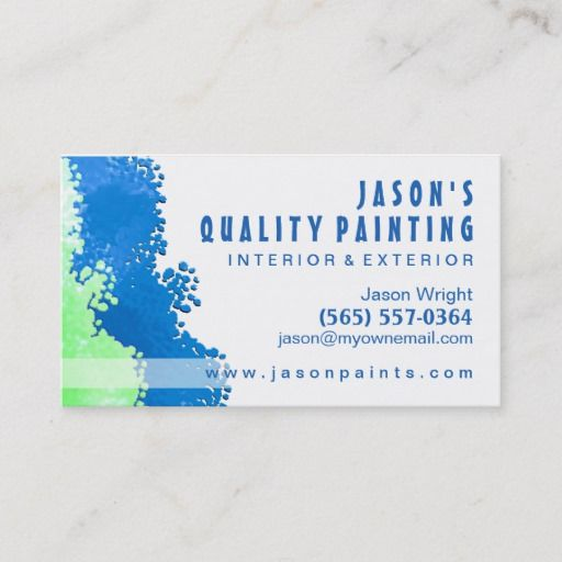 Blue Green Painter Business Card Zazzle Com Painter Business Card Business Card Size Painting Services