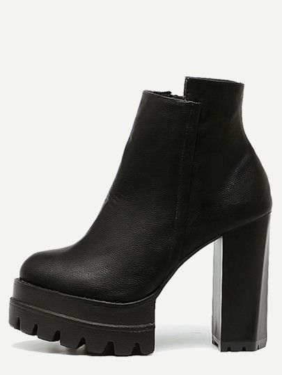 Bottines à talon en similicuir avec zip - noir