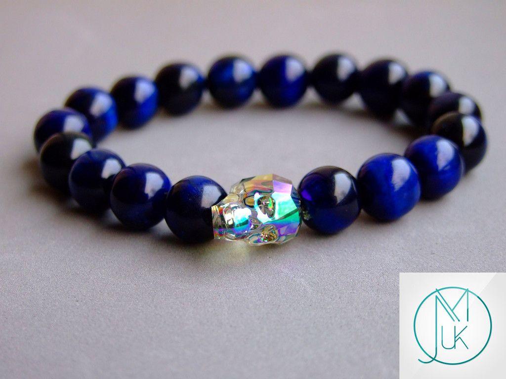 Swarovski Shine Crystal Skull Blue Tigers Eye Bracelet