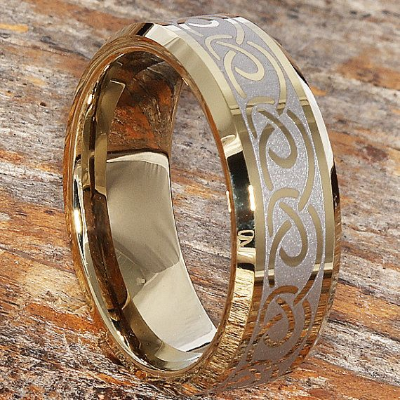 8mm Gold Celtic Wedding Band Tungsten Wedding Band Comfort