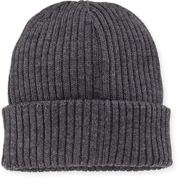 9850c9a5d32 Moncler Ribbed Cashmere Beanie Hat ( 130) ❤ liked on Polyvore featuring  accessories