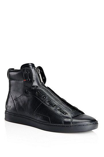 686e541ba90355 Posseo'   Leather High Top Zipper Sneakers by HUGO   Happy feet ...