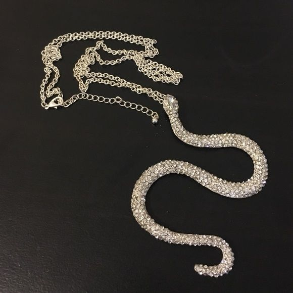 """Snake Necklace For all you reptile lovers out there. I got this on a whim a while back but never actually got around to wearing it. It's a bit too """"blingy"""" for me. It has a long chain and its not heavy at all. Any questions, let me know! Macy's Jewelry Necklaces"""