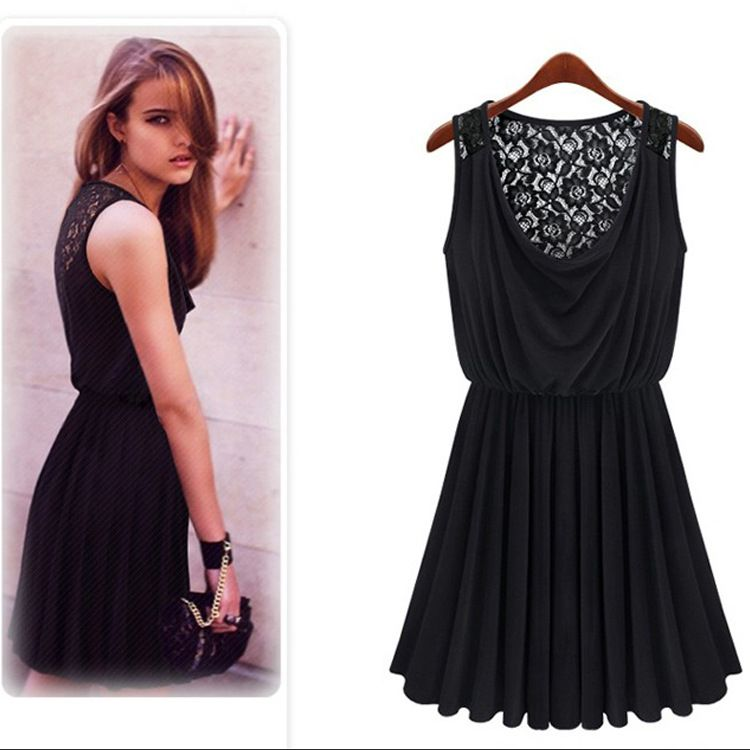 2014 Euro Hollow out Back Lace Sleeveless Sundress Pleated High Elastic Pine Waist Type Dress Black ali.com