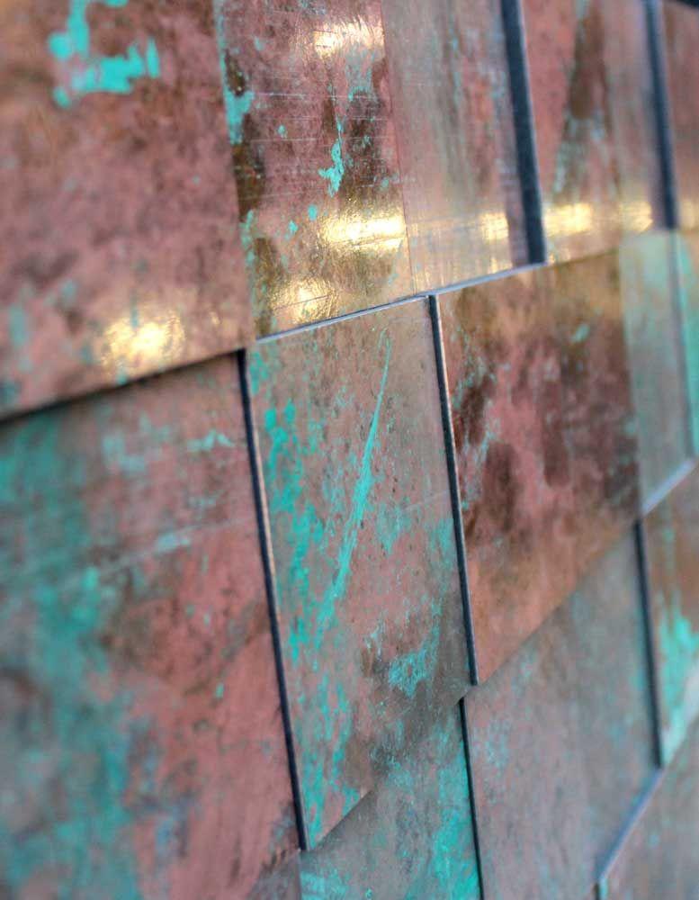 Wandpaneele metall kupfer oxidiert princkeln tuerkis - Kupfer wandfarbe ...