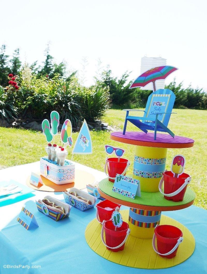 Pool Party Ideas Kids Summer Printables Diy decoration