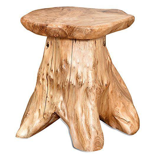 WELLAND Outdoor/Indoor Wood Stump Mushroom Stools