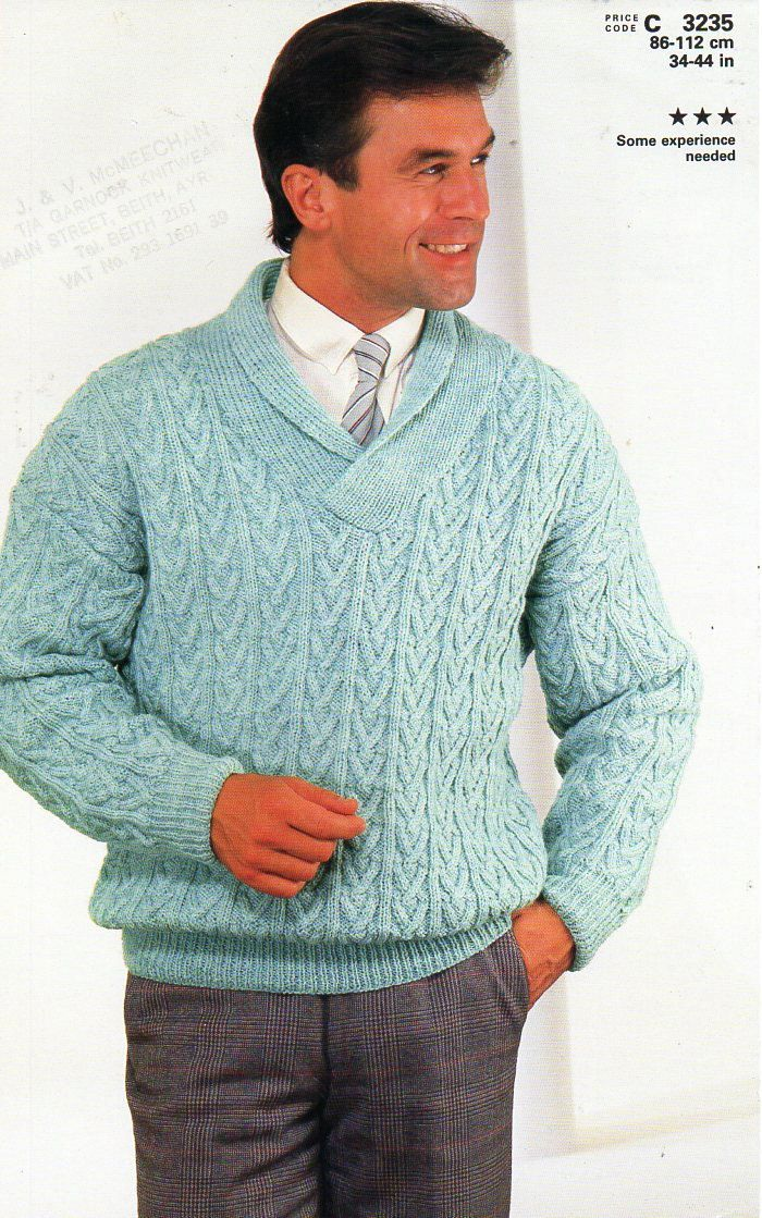 Mens Cable Sweater Knitting Pattern Pdf Dk Cable Shawl Collar Jumper